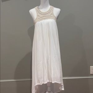White dress with crocheted top